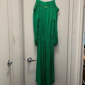 Ramy Brook silk emerald green off shoulder dress